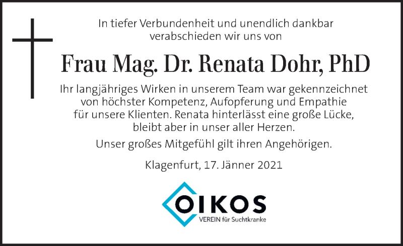 Traueranzeige für Renata Dohr vom 17.01.2021 aus Kleine Zeitung