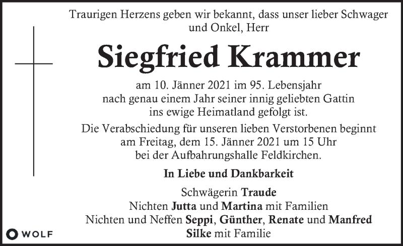 Traueranzeige für Siegfried Krammer  vom 14.01.2021 aus Kleine Zeitung