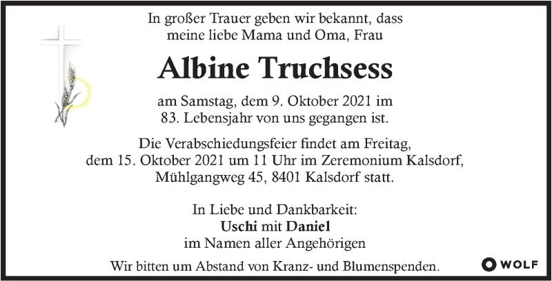 Traueranzeige für Albine Truchsess vom 13.10.2021 aus Kleine Zeitung