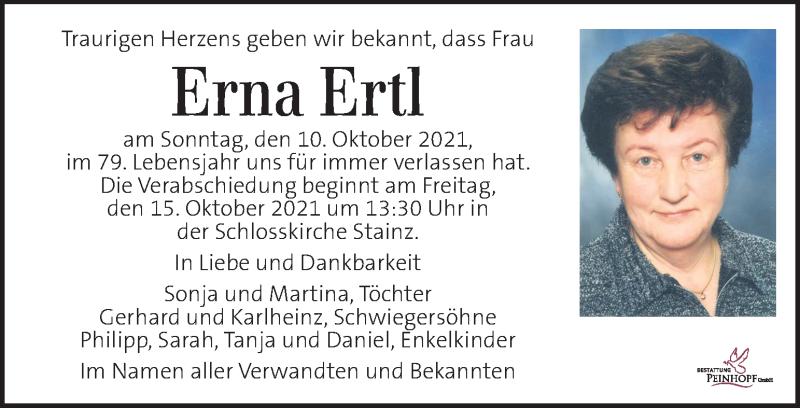 Traueranzeige für Erna Ertl vom 13.10.2021 aus Kleine Zeitung