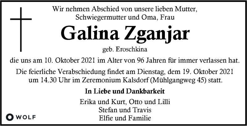 Traueranzeige für Galina Zganjar vom 14.10.2021 aus Kleine Zeitung