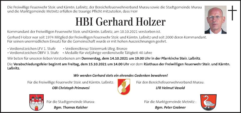 Traueranzeige für Gerhard Holzer vom 13.10.2021 aus Kleine Zeitung