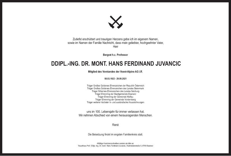 Traueranzeige für Hans Ferdinand Juvancic vom 10.10.2021 aus Kleine Zeitung