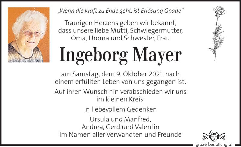 Traueranzeige für Ingeborg Mayer vom 13.10.2021 aus Kleine Zeitung