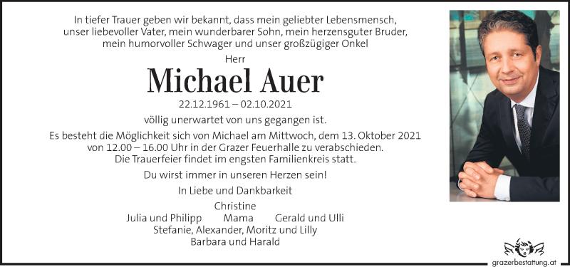 Traueranzeige für Michael Auer vom 12.10.2021 aus Kleine Zeitung