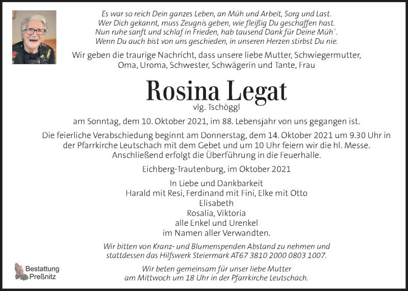 Traueranzeige für Rosina Legat vom 13.10.2021 aus Kleine Zeitung