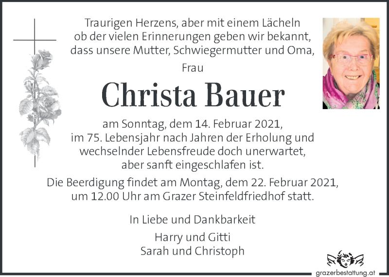Traueranzeige für Christa Bauer  vom 18.02.2021 aus Kleine Zeitung