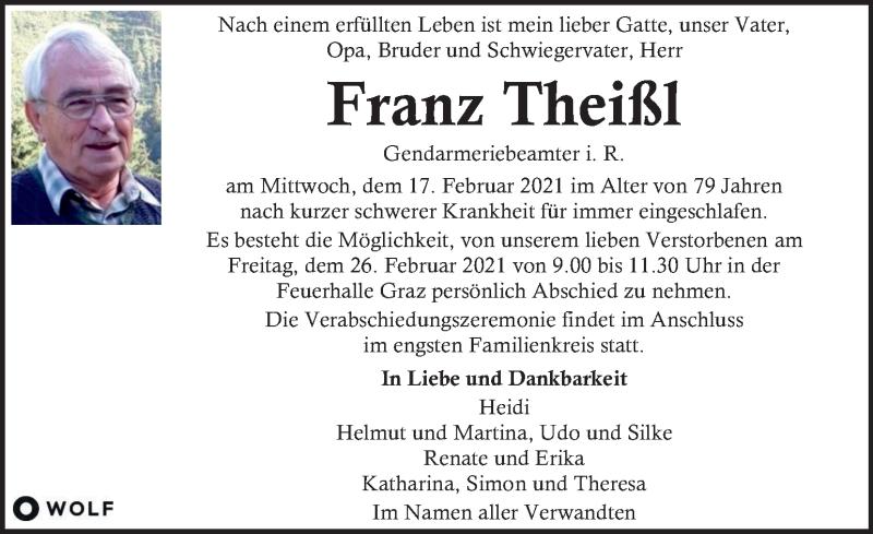 Traueranzeige für Franz Theißl vom 23.02.2021 aus Kleine Zeitung