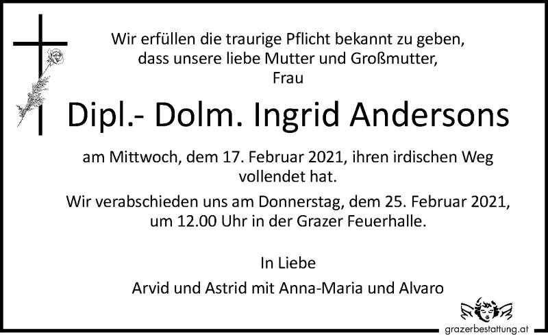 Traueranzeige für Ingrid Andersons vom 21.02.2021 aus Kleine Zeitung