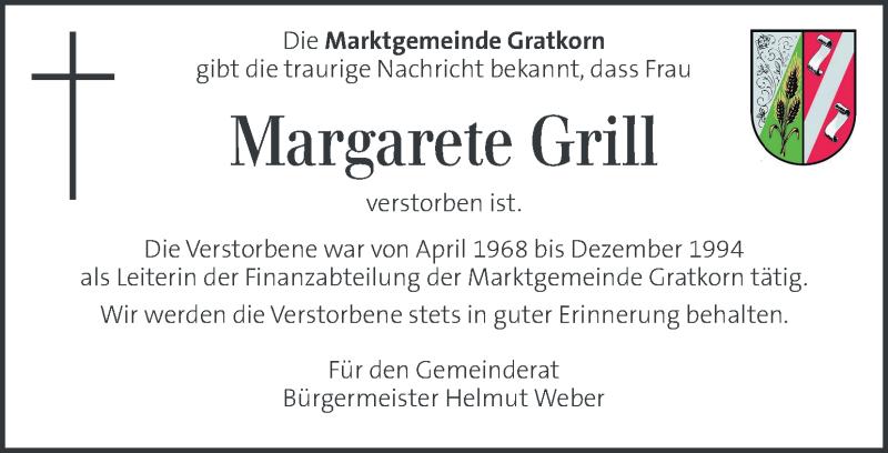 Traueranzeige für Margarete Grill vom 23.02.2021 aus Kleine Zeitung