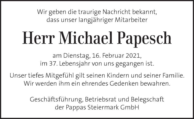 Traueranzeige für Michael Papesch vom 24.02.2021 aus Kleine Zeitung