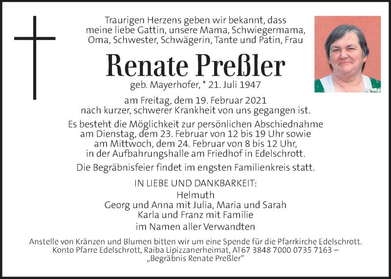 Traueranzeige für Renate Preßler vom 23.02.2021 aus Kleine Zeitung