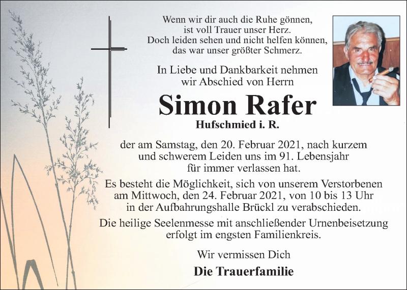 Traueranzeige für Simon Rafer vom 23.02.2021 aus Kleine Zeitung