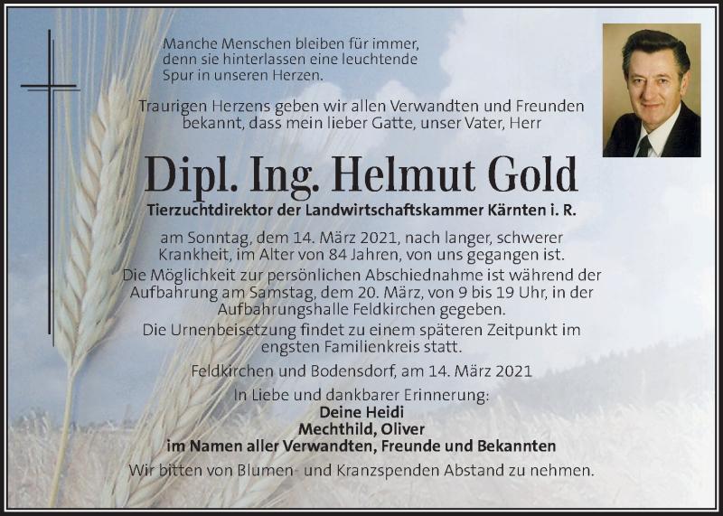 Traueranzeige für Helmut Gold vom 18.03.2021 aus Kleine Zeitung