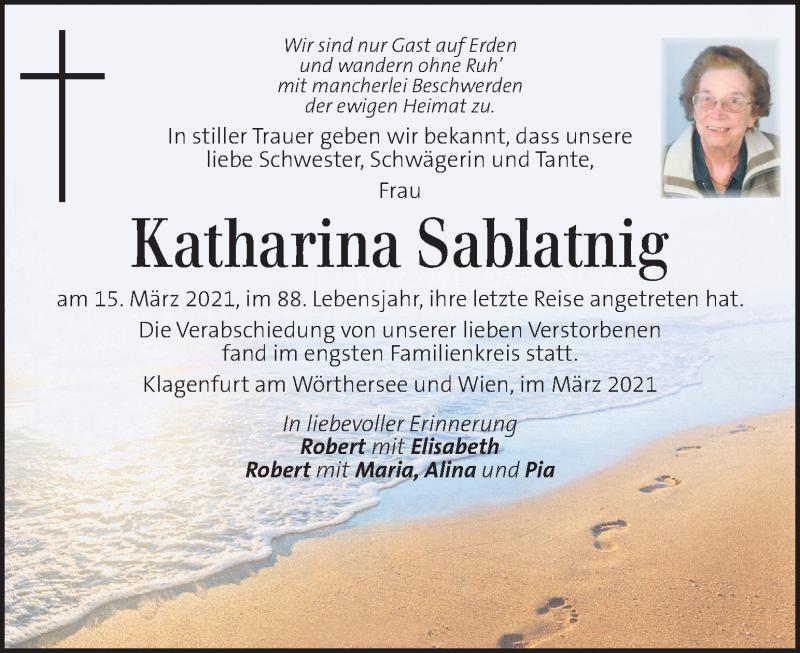 Traueranzeige für Katharina Sablatnig vom 23.03.2021 aus Kleine Zeitung