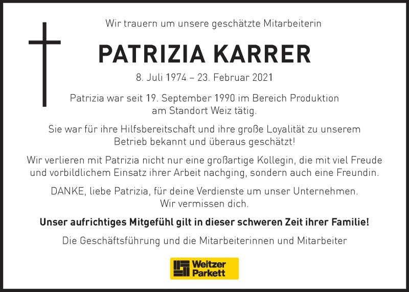 Traueranzeige für Patrizia Karrer vom 04.03.2021 aus Kleine Zeitung
