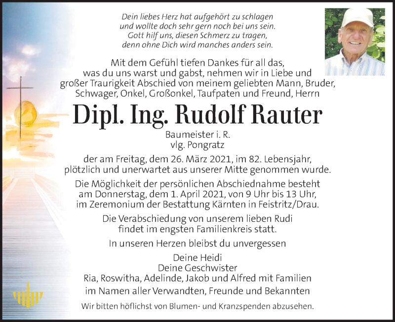 Traueranzeige für Rudolf Rauter vom 31.03.2021 aus Kleine Zeitung