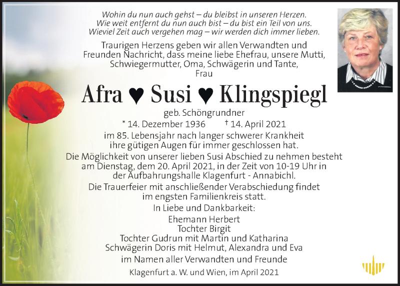 Traueranzeige für Afra Susi Klingspiegl  vom 18.04.2021 aus Kleine Zeitung