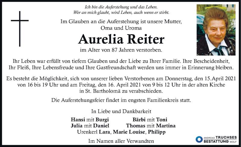 Traueranzeige für Aurelia Reiter vom 15.04.2021 aus Kleine Zeitung