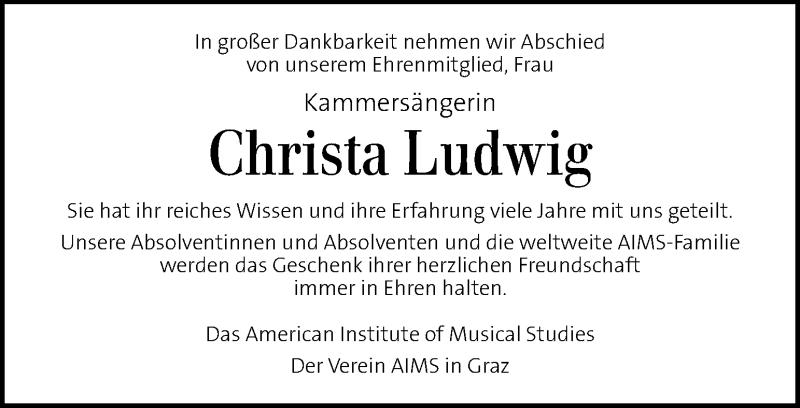 Traueranzeige für Christa Ludwig vom 01.05.2021 aus Kleine Zeitung