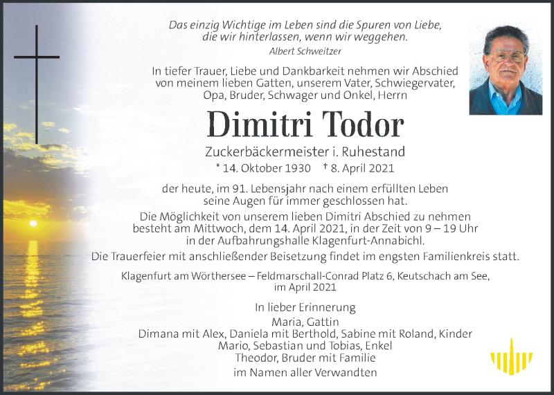 Traueranzeige für Dimitri Todor vom 13.04.2021 aus Kleine Zeitung