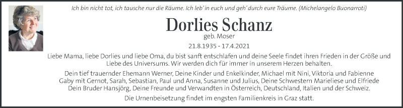 Traueranzeige für Dorlies Schanz vom 01.05.2021 aus Kleine Zeitung