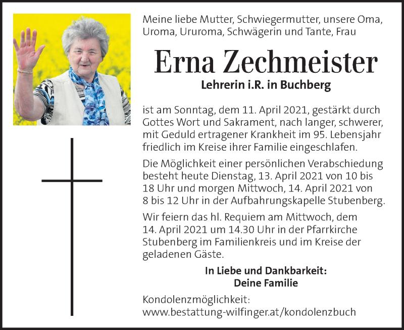 Traueranzeige für Erna Zechmeister vom 13.04.2021 aus Kleine Zeitung