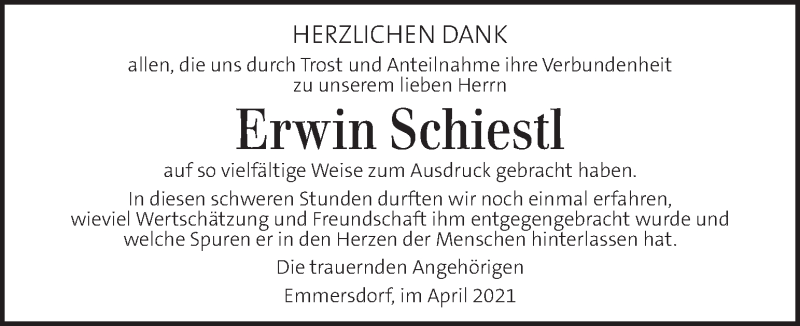 Traueranzeige für Erwin Schiestl vom 13.04.2021 aus Kleine Zeitung