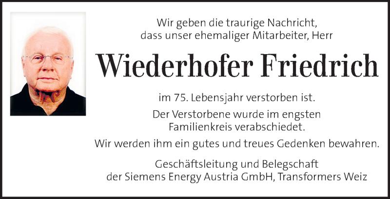 Traueranzeige für Friedrich Wiederhofer vom 17.04.2021 aus Kleine Zeitung