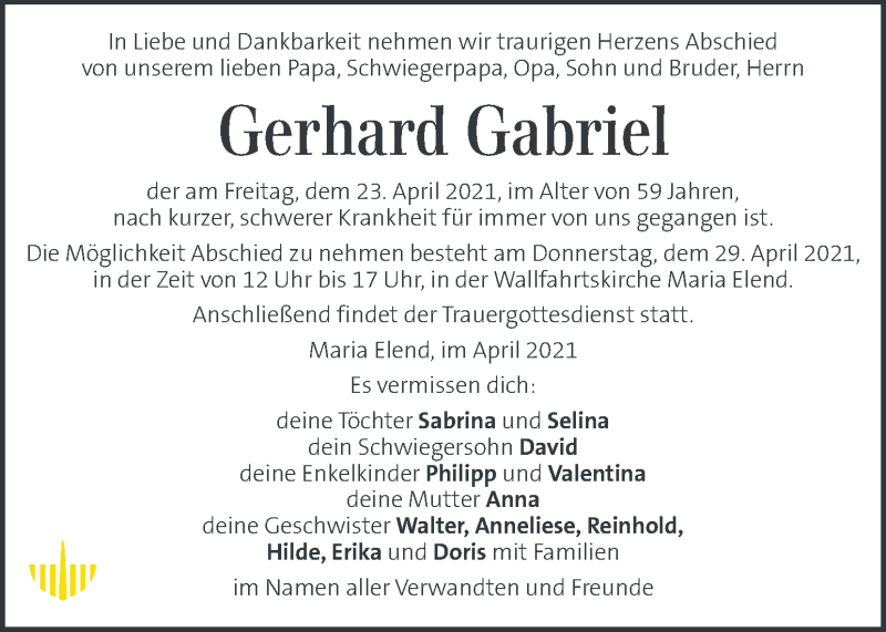 Traueranzeige für Gerhard Gabriel vom 28.04.2021 aus Kleine Zeitung