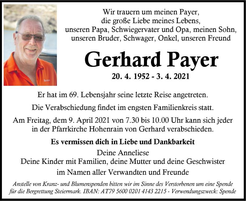 Traueranzeige für Gerhard Payer vom 07.04.2021 aus Kleine Zeitung