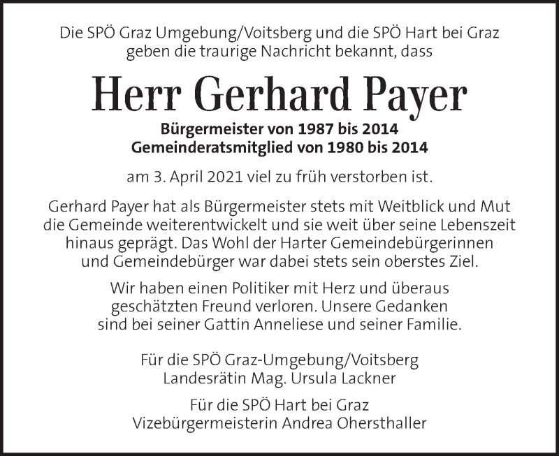 Traueranzeige für Gerhard Payer vom 09.04.2021 aus Kleine Zeitung