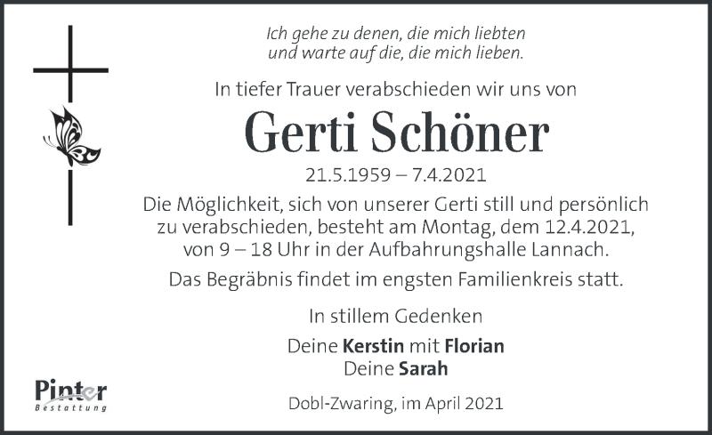 Traueranzeige für Gerti Schöner vom 09.04.2021 aus Kleine Zeitung