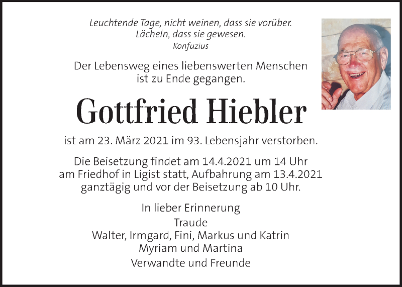 Traueranzeige für Gottfried Hiebler  vom 11.04.2021 aus Kleine Zeitung