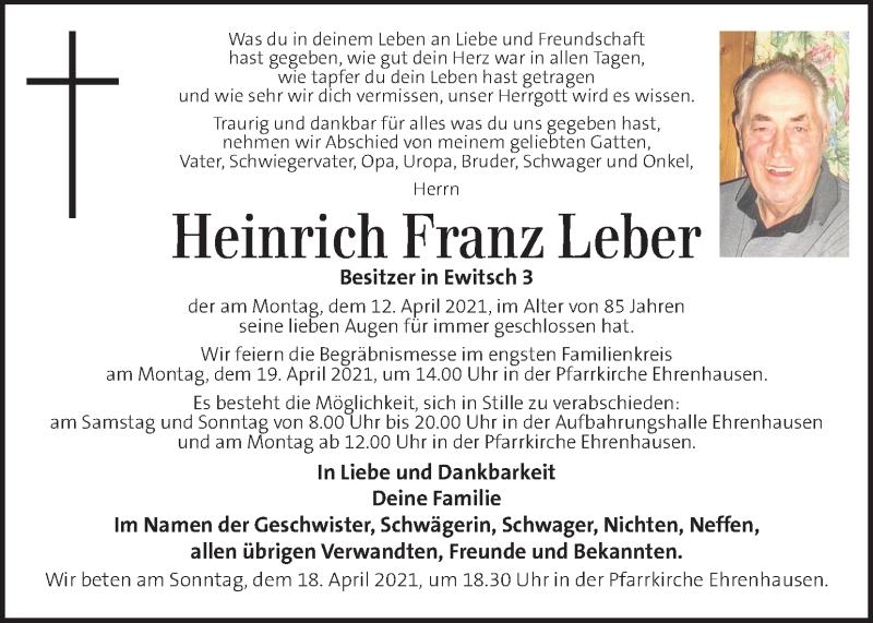 Traueranzeige für Heinrich Franz Leber vom 17.04.2021 aus Kleine Zeitung