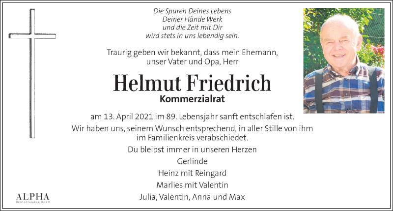 Traueranzeige für Helmut Friedrich vom 17.04.2021 aus Kleine Zeitung