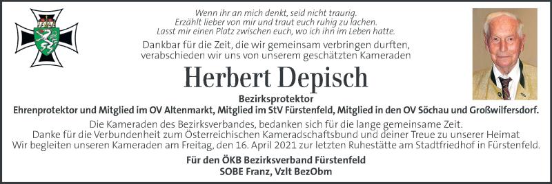 Traueranzeige für Herbert Depisch vom 15.04.2021 aus Kleine Zeitung