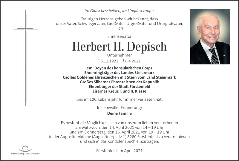 Traueranzeige für Herbert Depisch vom 11.04.2021 aus Kleine Zeitung