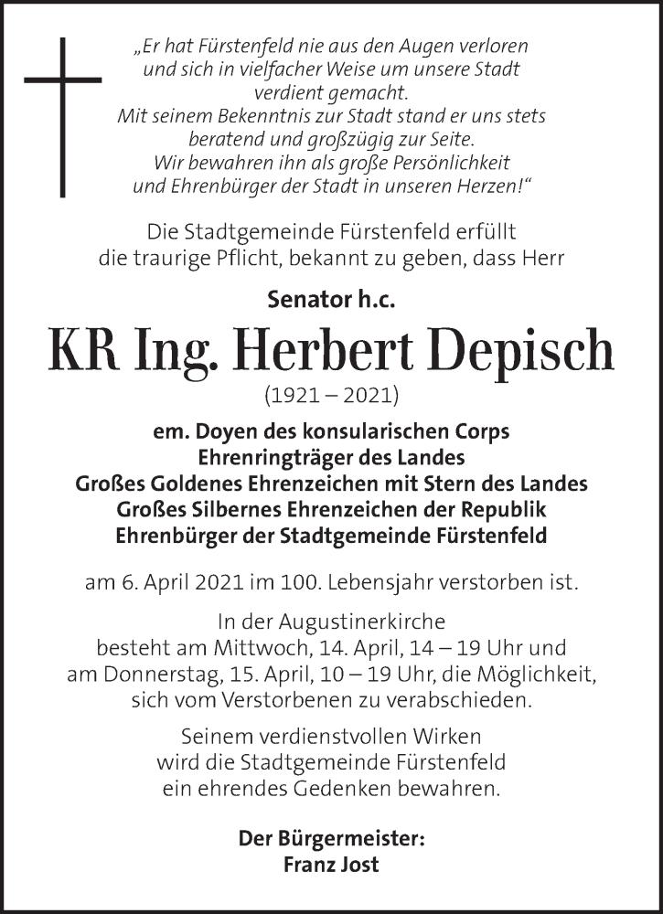 Traueranzeige für Herbert Depisch vom 09.04.2021 aus Kleine Zeitung