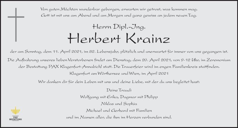 Traueranzeige für Herbert Krainz vom 17.04.2021 aus Kleine Zeitung
