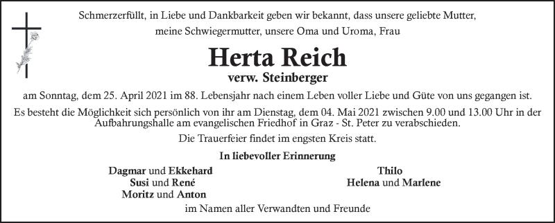 Traueranzeige für Herta Reich vom 01.05.2021 aus Kleine Zeitung