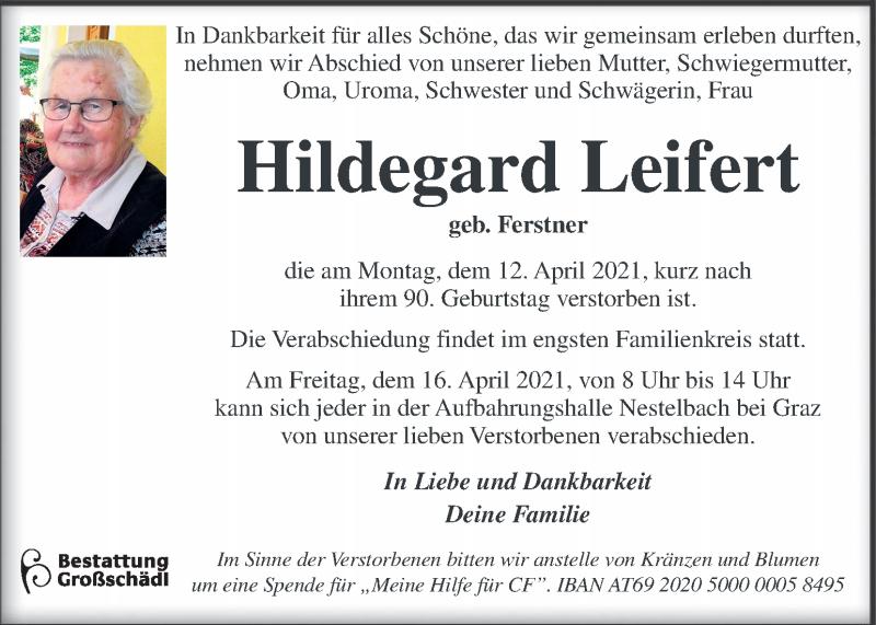 Traueranzeige für Hildegard Leifert vom 14.04.2021 aus Kleine Zeitung