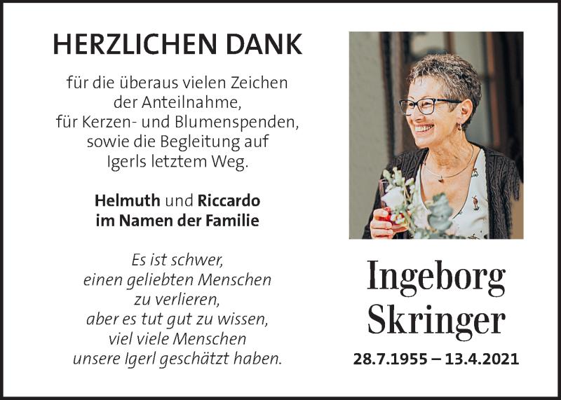 Traueranzeige für Ingeborg Skringer vom 01.05.2021 aus Kleine Zeitung