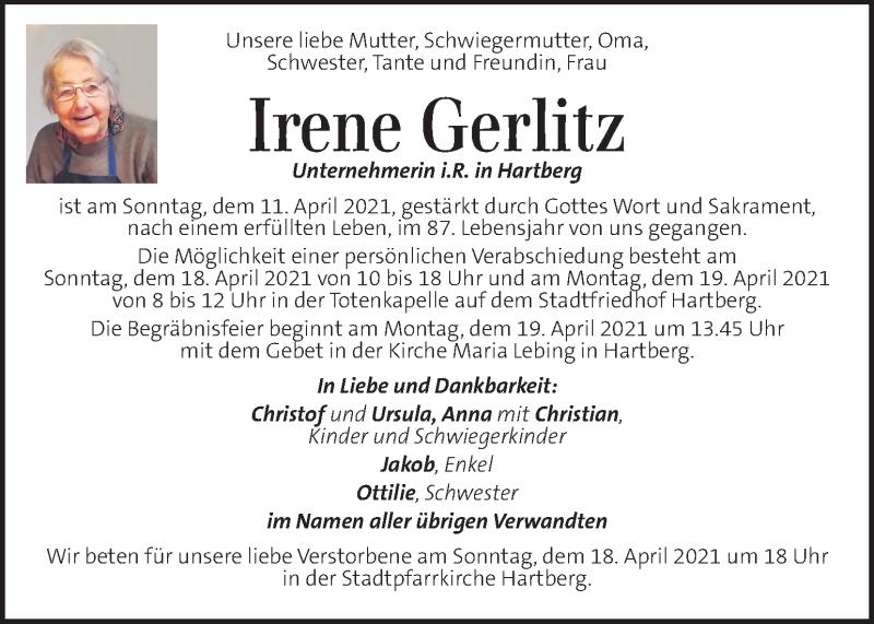 Traueranzeige für Irene Gerlitz vom 16.04.2021 aus Kleine Zeitung