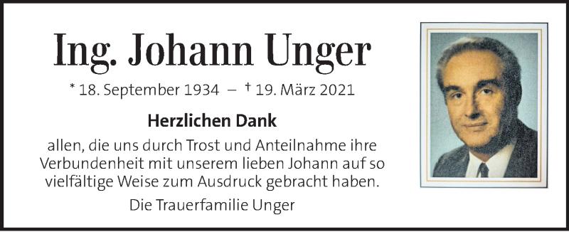 Traueranzeige für Johann Unger vom 17.04.2021 aus Kleine Zeitung