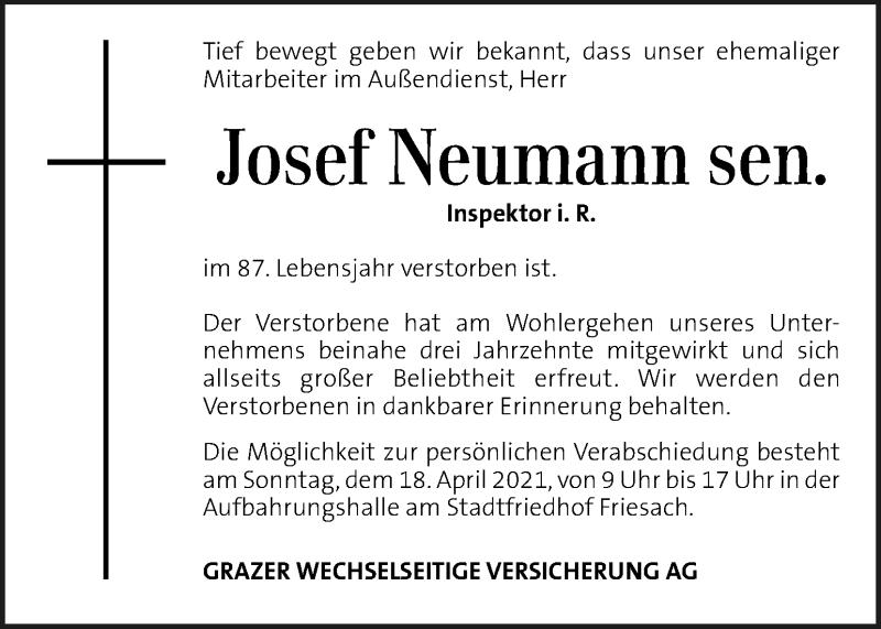 Traueranzeige für Josef Neumann sen. vom 16.04.2021 aus Kleine Zeitung