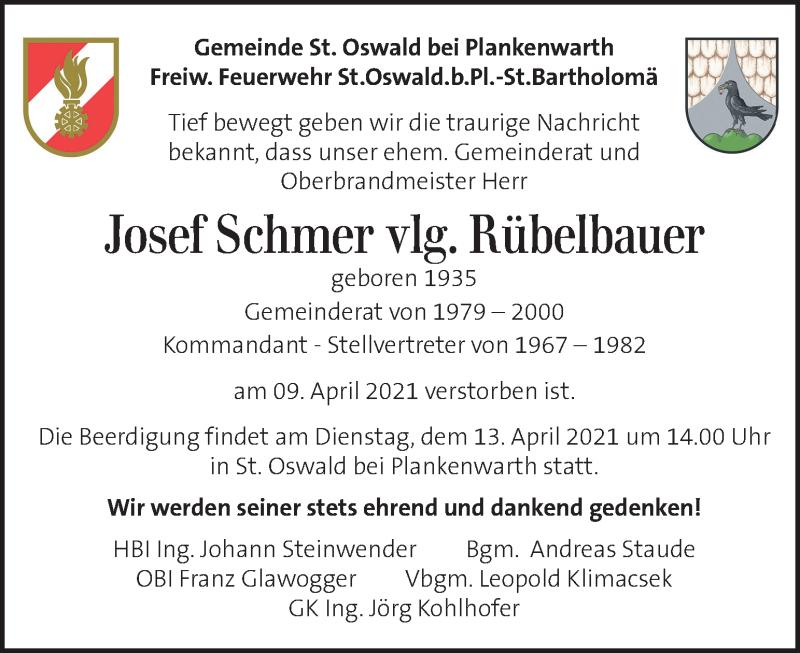 Traueranzeige für Josef Schmer vom 13.04.2021 aus Kleine Zeitung
