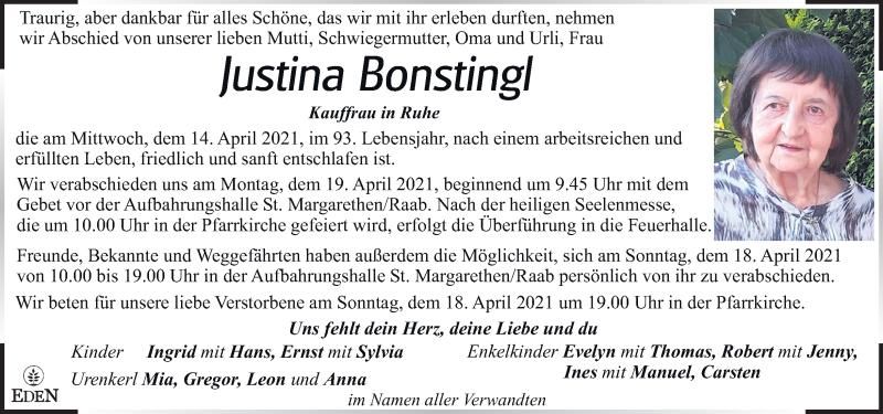 Traueranzeige für Justina Bonstingl vom 17.04.2021 aus Kleine Zeitung