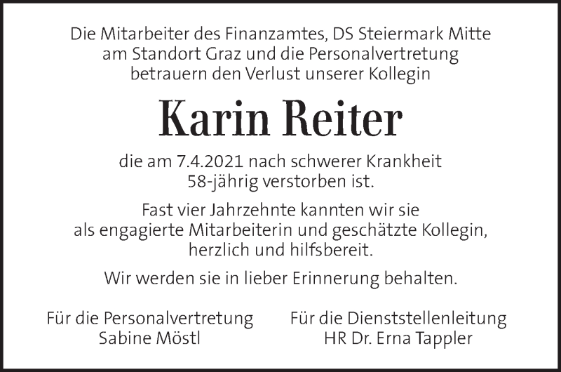 Traueranzeige für Karin Reiter vom 11.04.2021 aus Kleine Zeitung