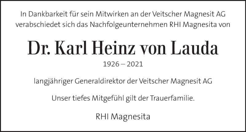 Traueranzeige für Karl Heinz von Lauda  vom 17.04.2021 aus Kleine Zeitung